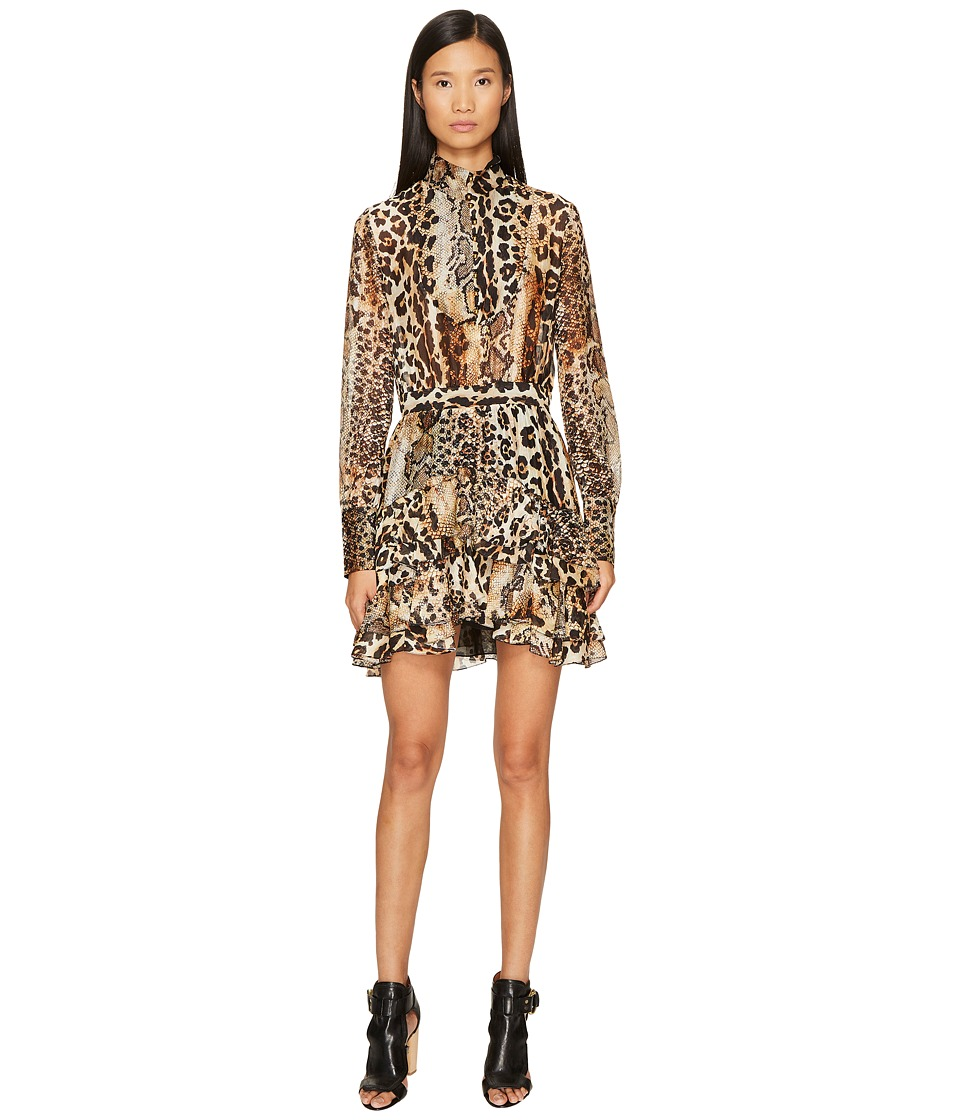 Just Cavalli Long Sleeve Mixed Animal Print Dress (Natural Veg Tanned Full Grain) Women