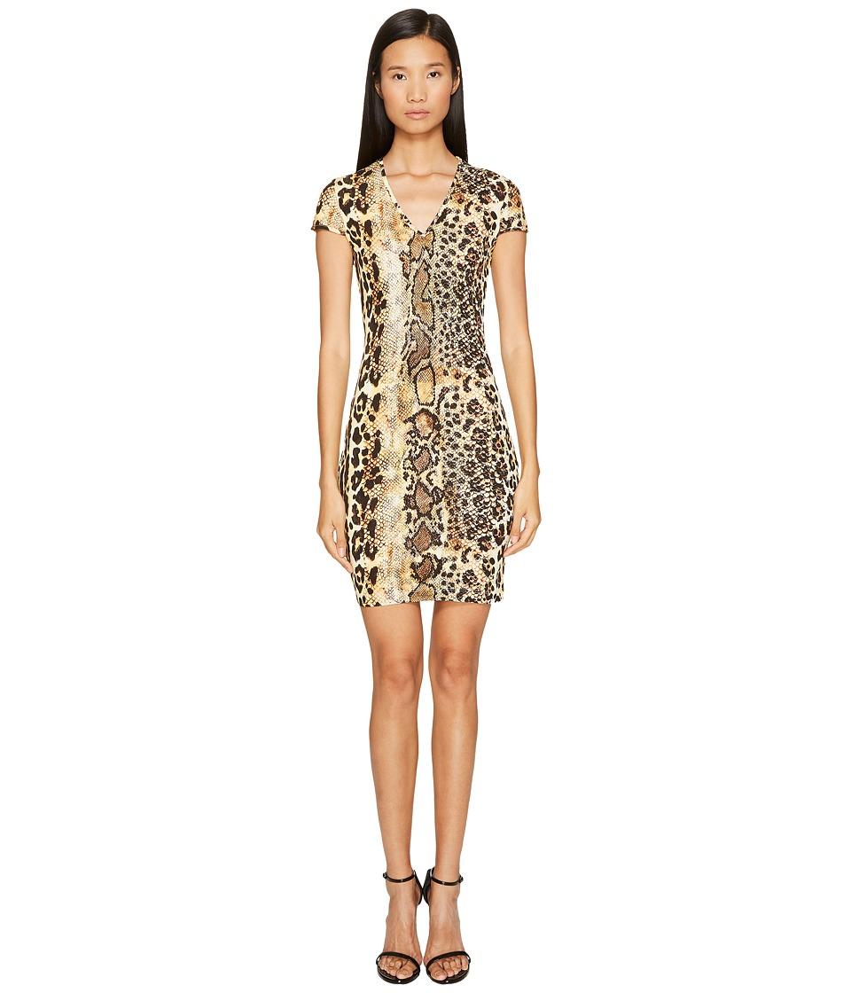 Just Cavalli - Short Sleeve V-Neck Mixed Animal Print Jersey Dress