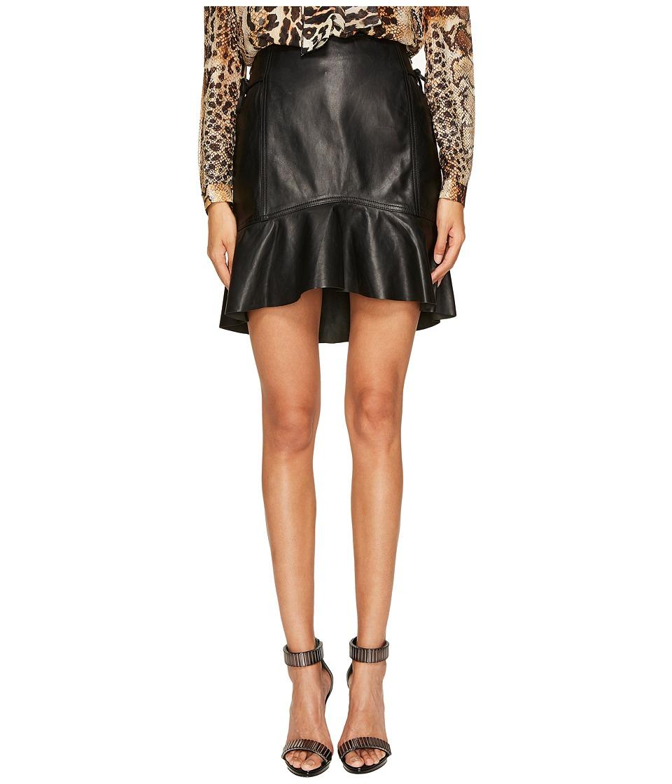 Just Cavalli - Ruffle Tie Side Leather Skirt