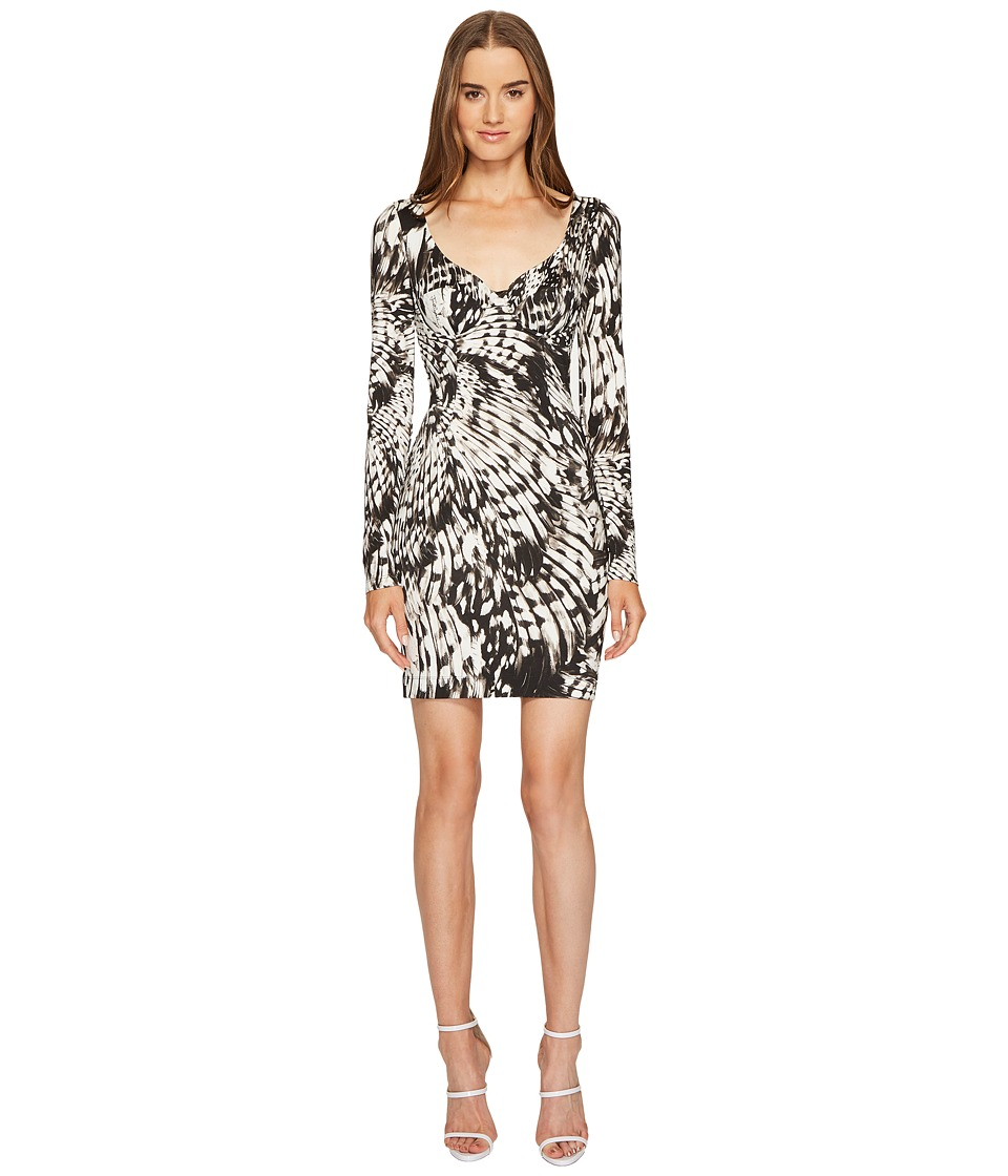 Just Cavalli Wings of Dove Printed Jersey Long Sleeve Dress (Black) Women