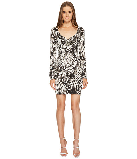 Just Cavalli Wings of Dove Printed Jersey Long Sleeve Dress