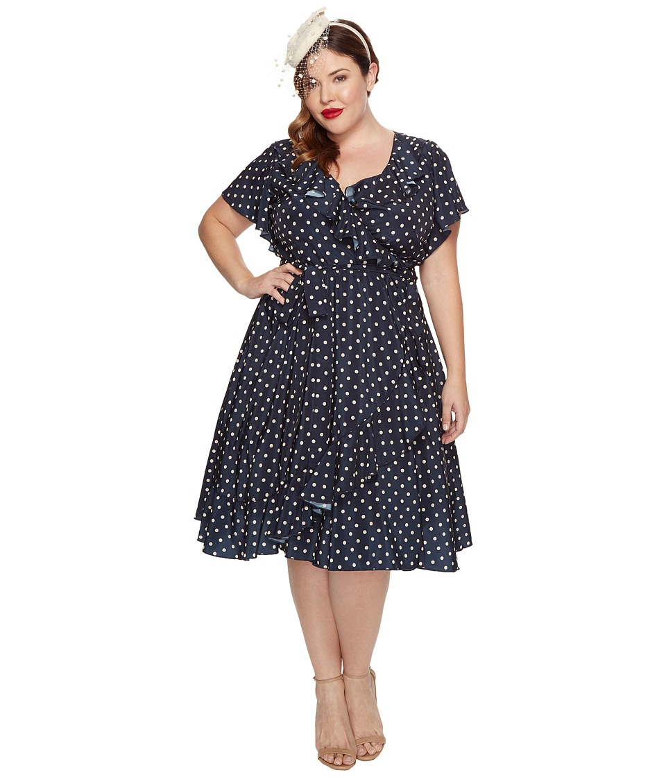 Unique Vintage Sateen Ruffle Dotty Wrap Dress (Navy/Ivory Dot) Women