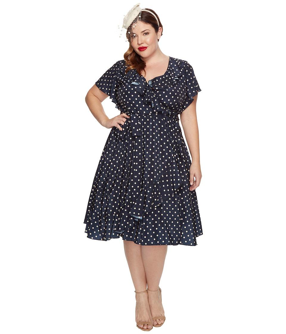 Unique Vintage - Sateen Ruffle Dotty Wrap Dress