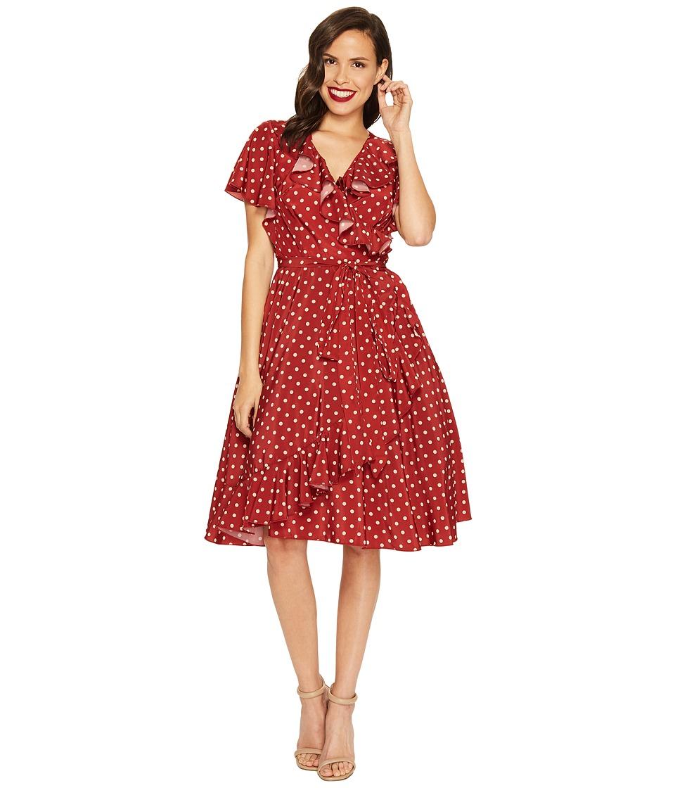 Unique Vintage Sateen Ruffle Dotty Wrap Dress (Red/Ivory Dot) Women
