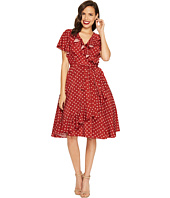 Unique Vintage - Sateen Ruffle Dotty Wrap Dress