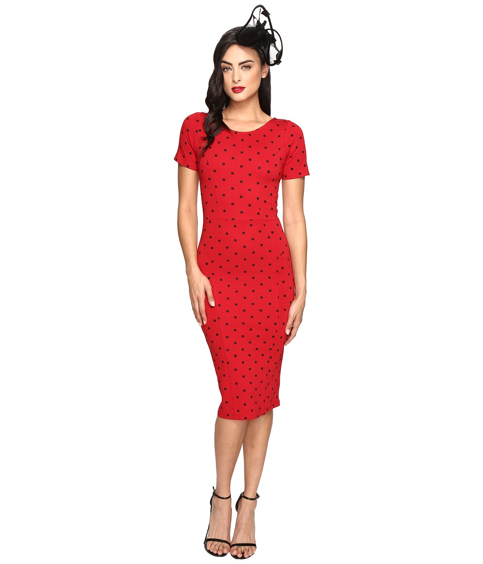 Unique Vintage Short Sleeve Stretch Mod Wiggle Dress (Red/Black Dot) Women