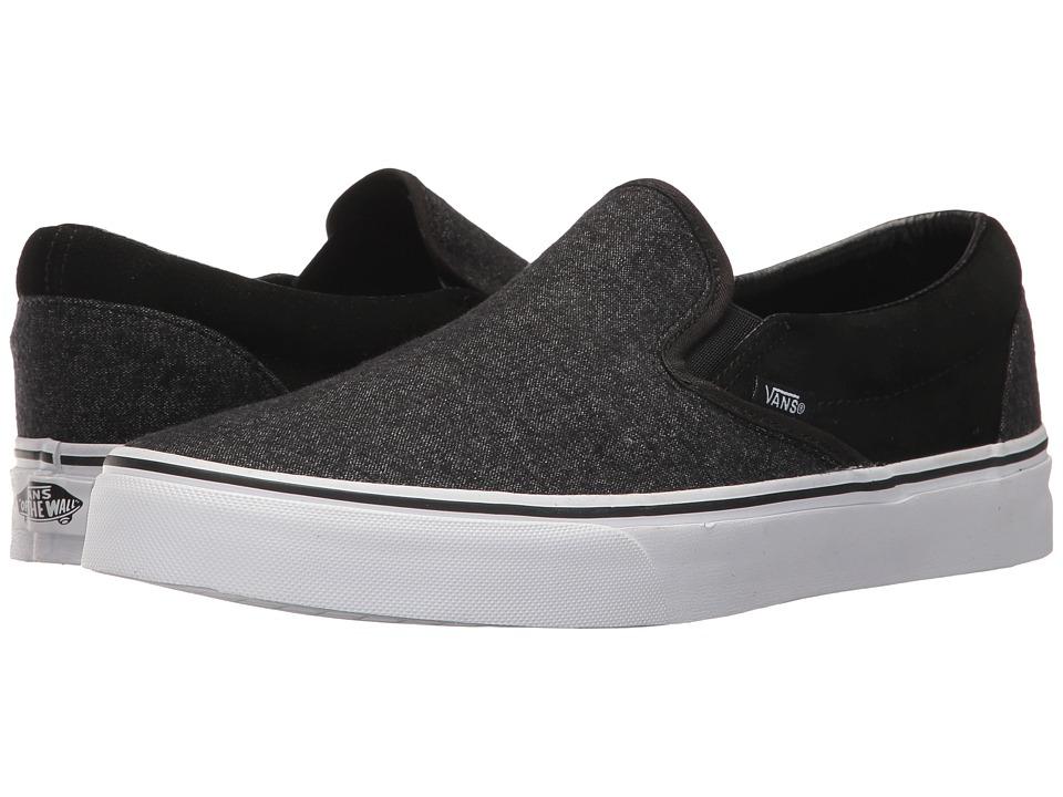 Vans Classic Slip-Ontm ((Suede & Suiting) Black) Skate Shoes