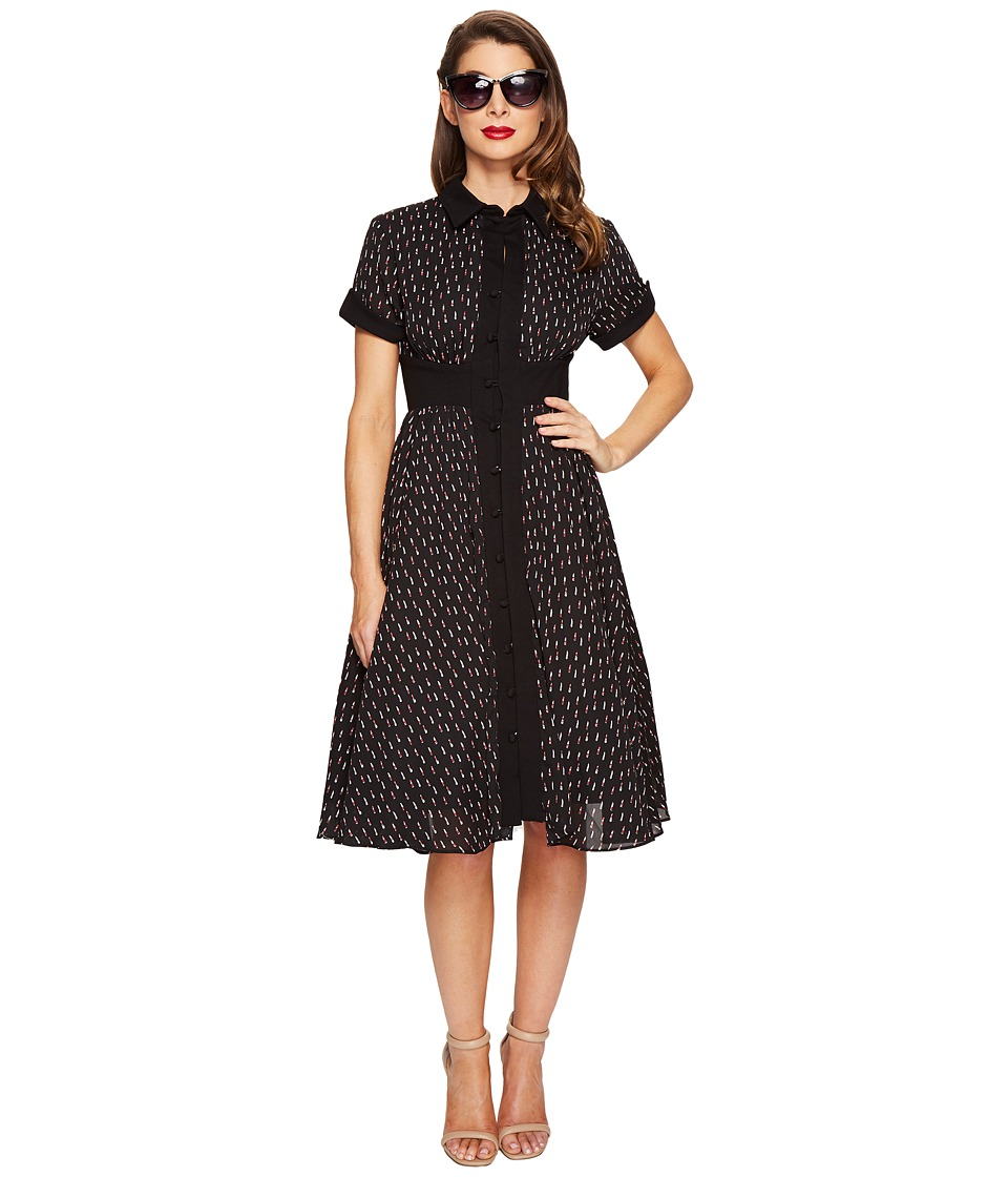 Unique Vintage - Sleeved Button Up Peggy Swing Dress