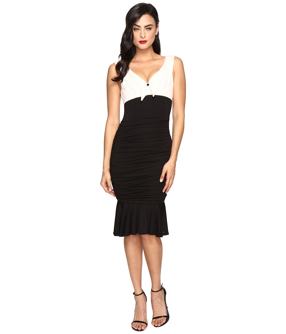 Unique Vintage Jersey Knit Ruched Fitted Dress (Ivory/Black) Women
