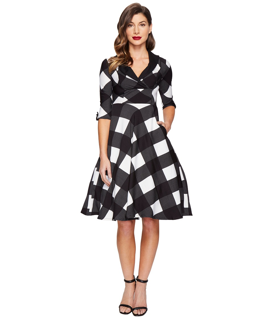 Unique Vintage Sleeved Trudy Swing Dress (Black/Ivory Checkered) Women