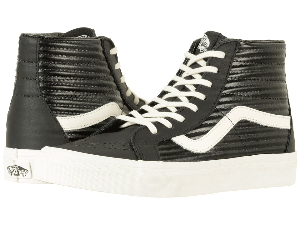 Vans SK8-Hi Reissue ((Moto Leather) Black/Blanc De Blanc) Skate Shoes