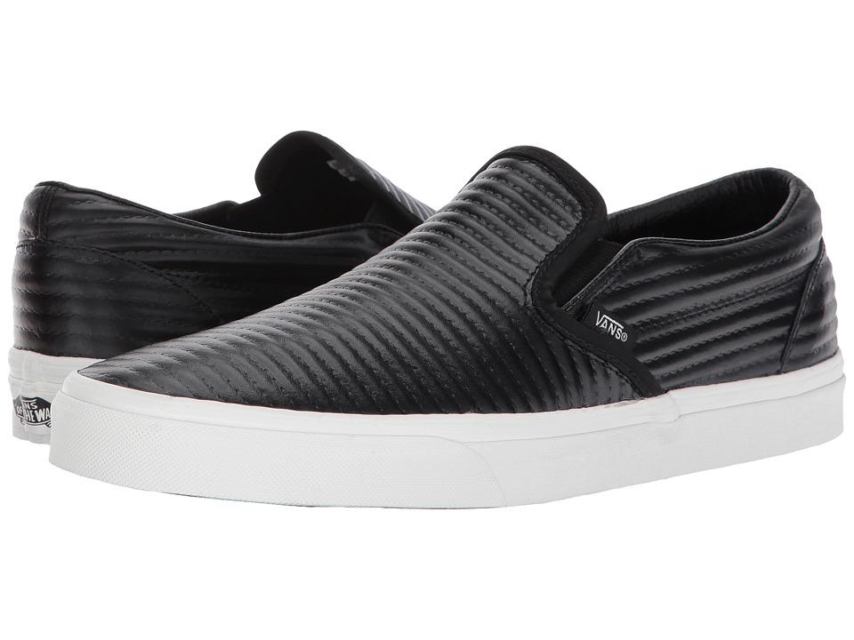 Vans Classic Slip-Ontm ((Moto Leather) Black/Blanc De Blanc) Skate Shoes