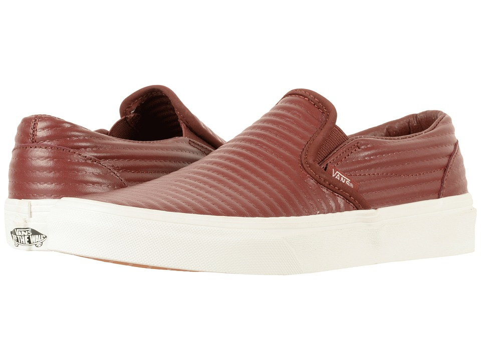 Vans Classic Slip-On ((Moto Leather) Madder Brown/Blanc De Blanc) Skate Shoes