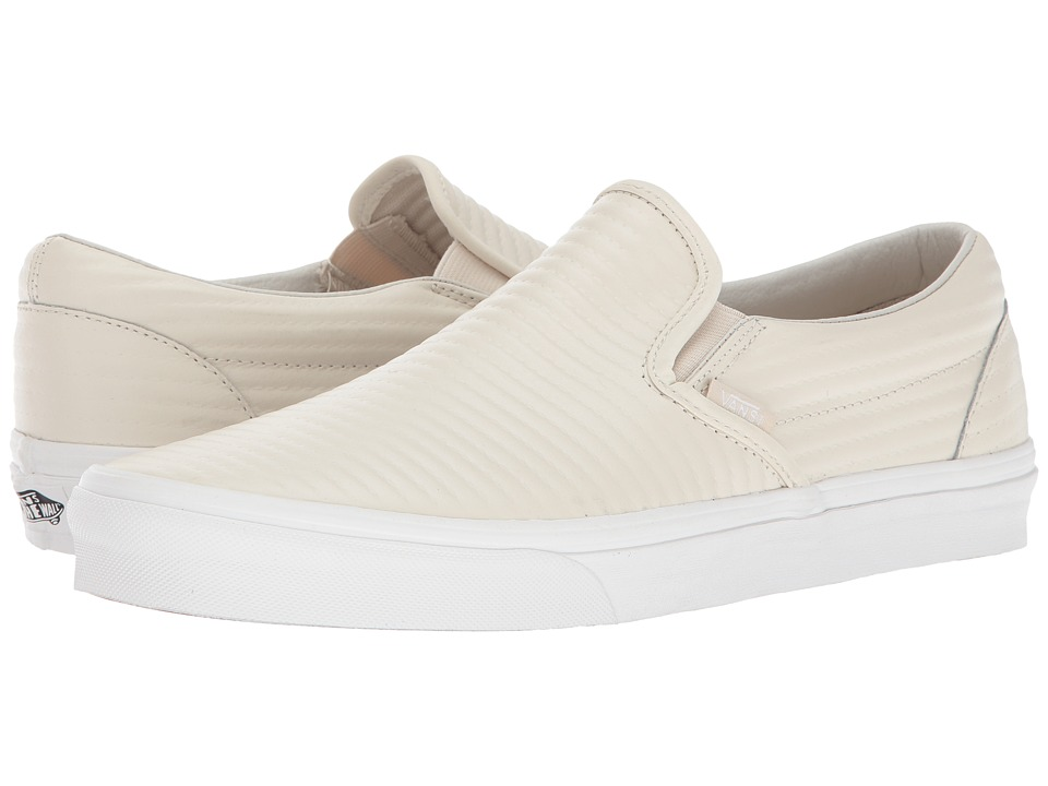 Vans Classic Slip-On ((Moto Leather) Birch/Blanc De Blanc) Skate Shoes