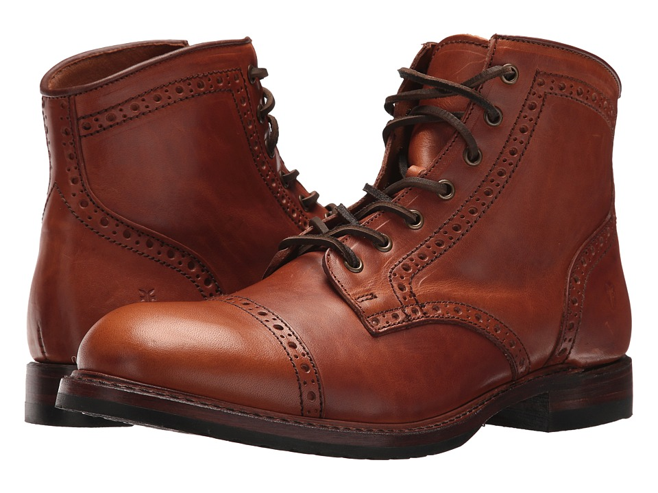 Frye Logan Brogue Cap Toe (Saddle Vintage Pull Up) Men