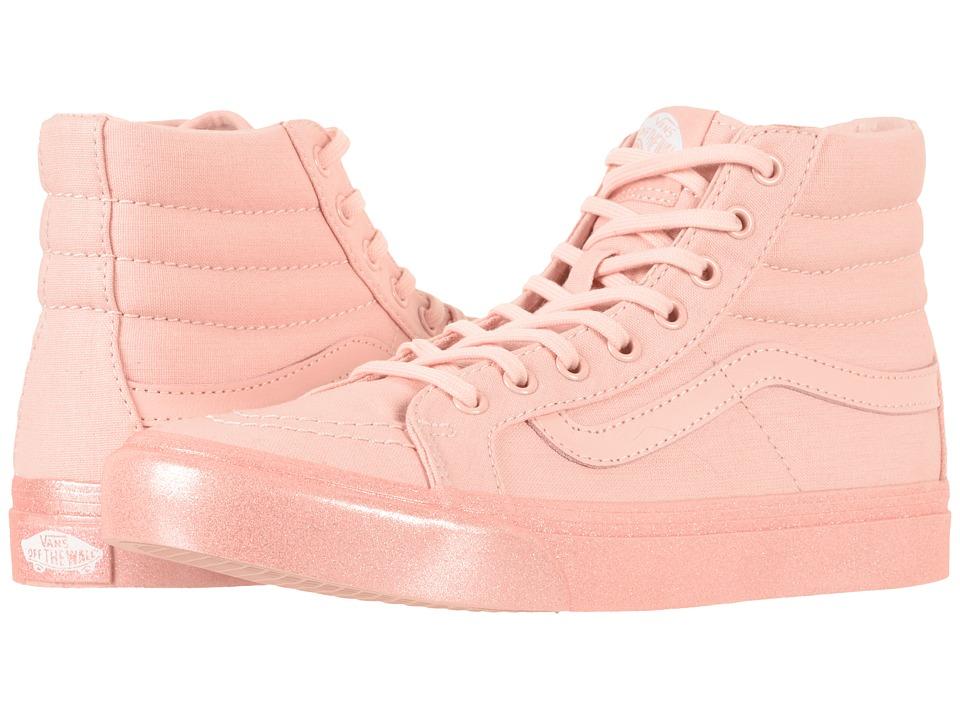 Vans SK8-Hi Slim ((Metallic Glitter) Silver Pink) Skate S...
