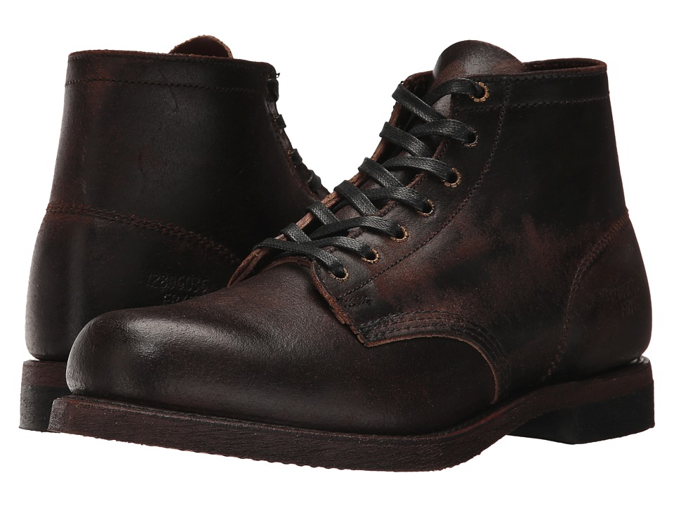 Frye - Prison Boot (Chocolate Waxed Suede) Mens Lace-up Boots