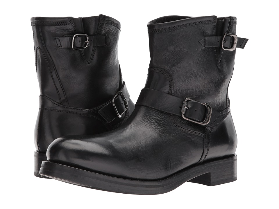 Frye Carter Engineer (Black Tumbled Waxed Calf) Men