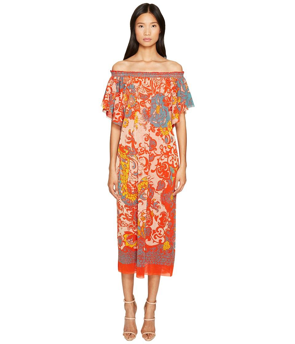 FUZZI - Off the Shoulder Dress in Dragonessa Print (Pompe...