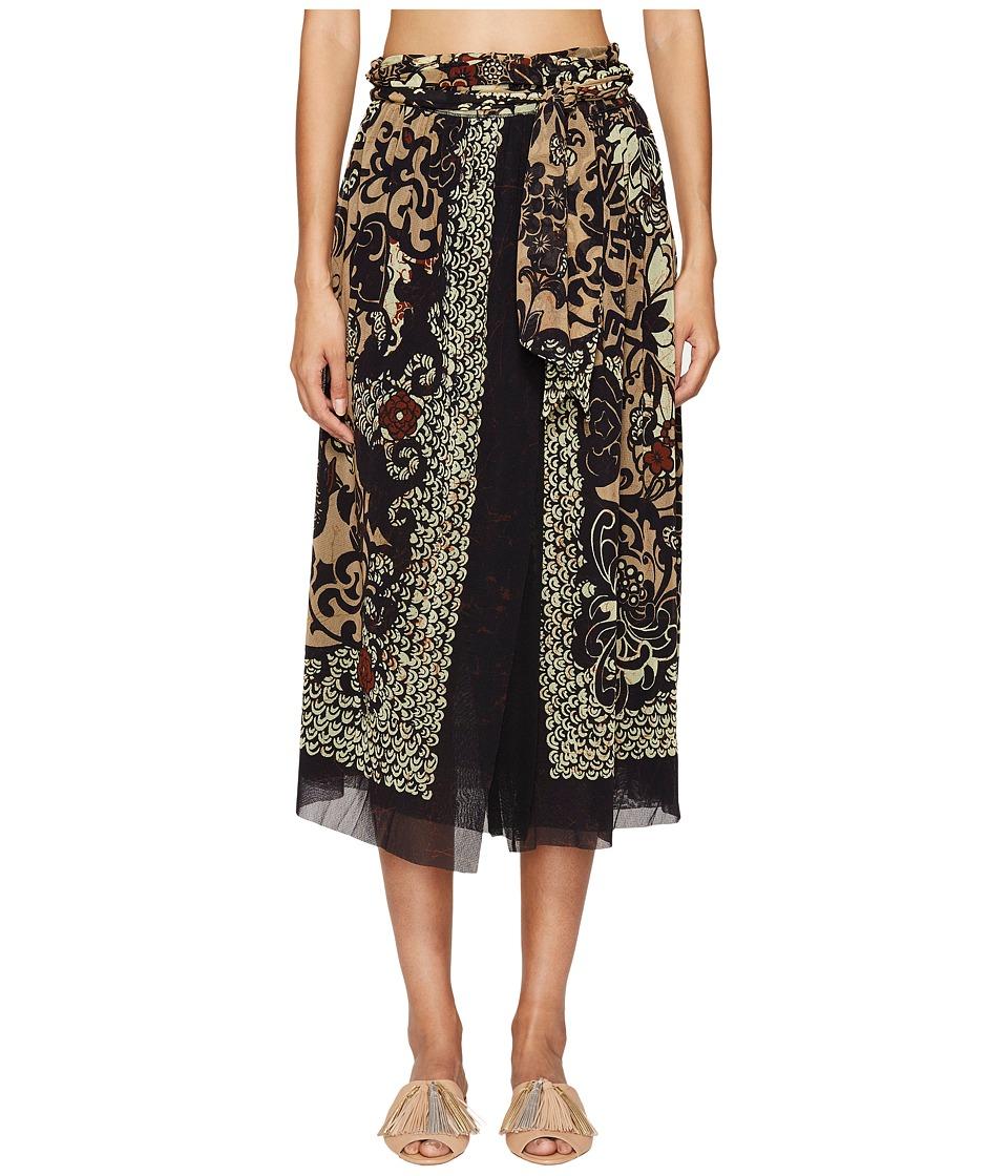 FUZZI - Wrap Skirt in Dragonessa Print (Nero) Women's Skirt