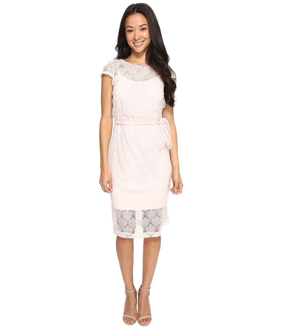 Jessica Simpson Scalloped Lace Dress (Blush) Women