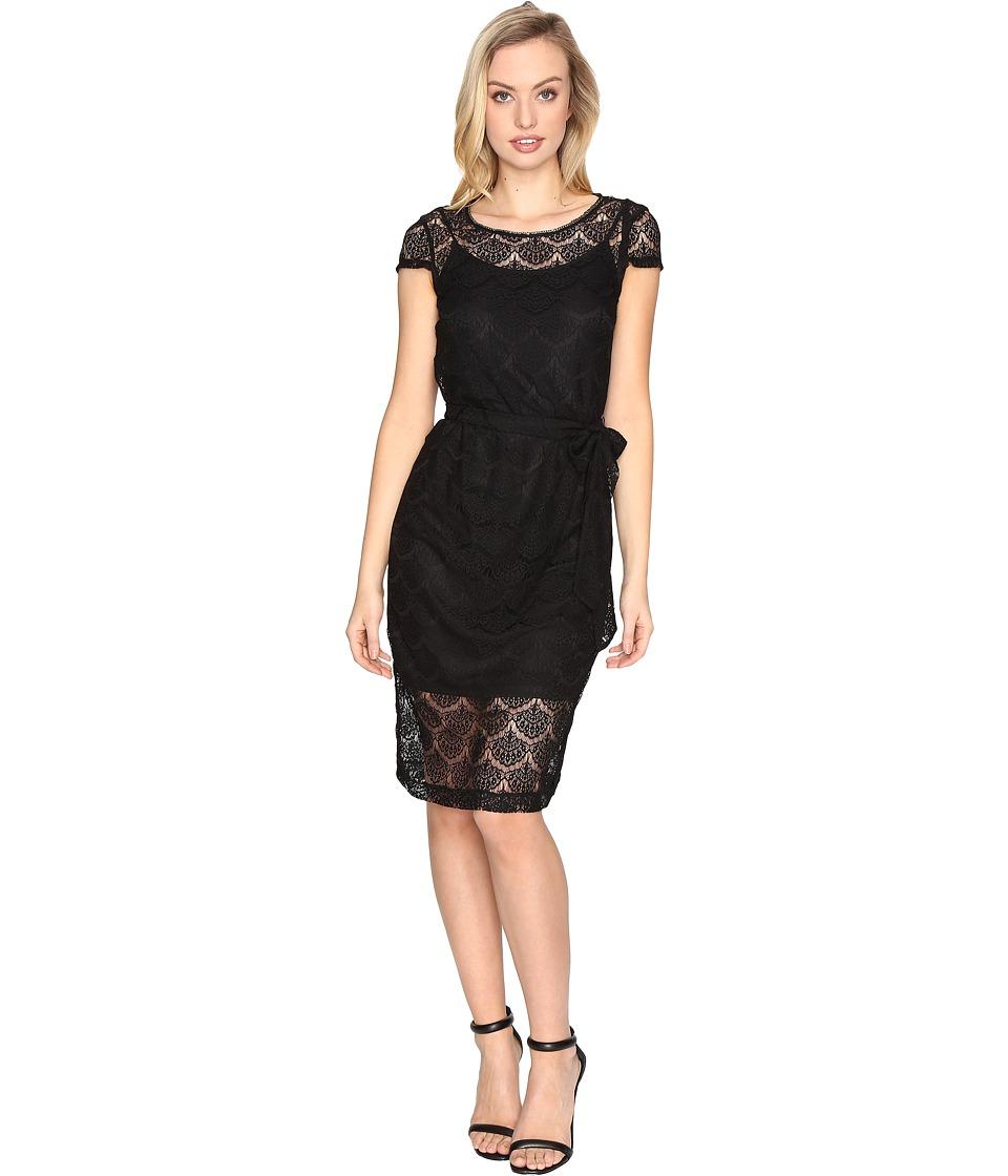 Jessica Simpson Scalloped Lace Dress (Black) Women