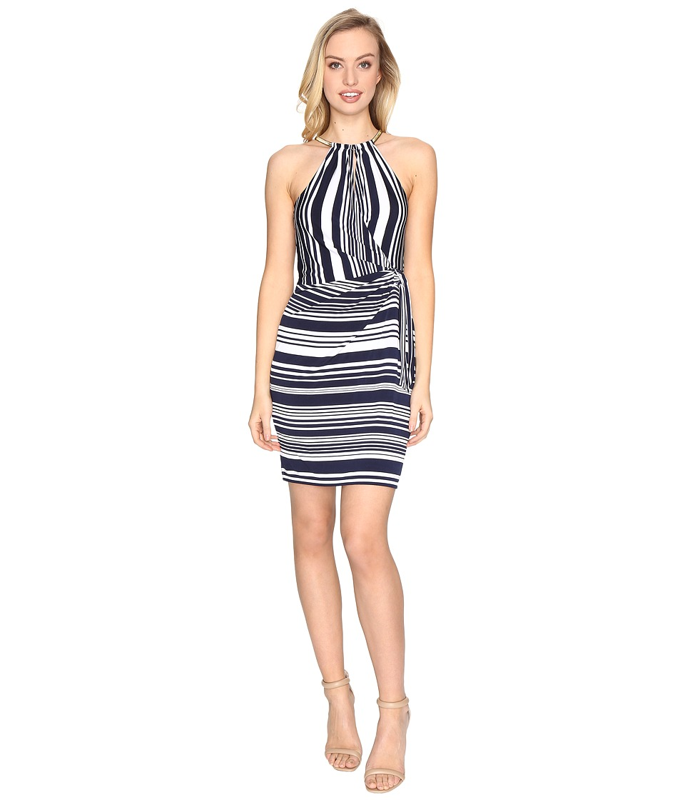 Jessica Simpson Bungee Faux Wrap Dress (Stripe) Women