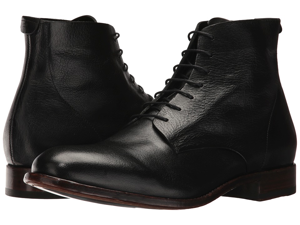 Frye Harrison Lace-Up (Black Buffalo Smooth Full Grain) Men
