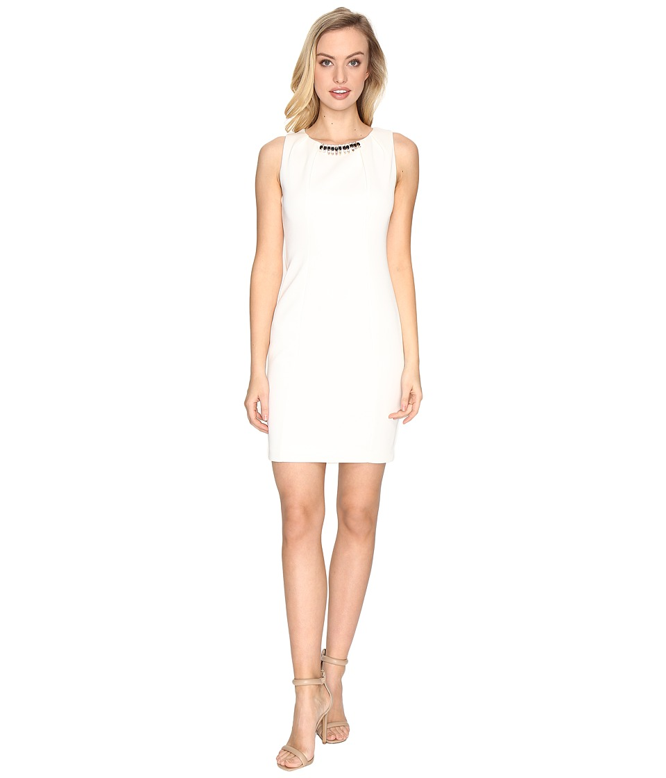 Jessica Simpson - Embellished Neck Dress (Ivory) Womens Dress