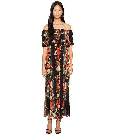 FUZZI Off the Shoulder Long Flower Print Dress