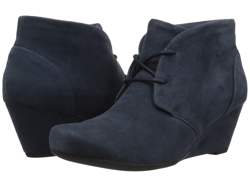 Clarks Flores Rose (Navy Suede) Women's Wedge Shoes