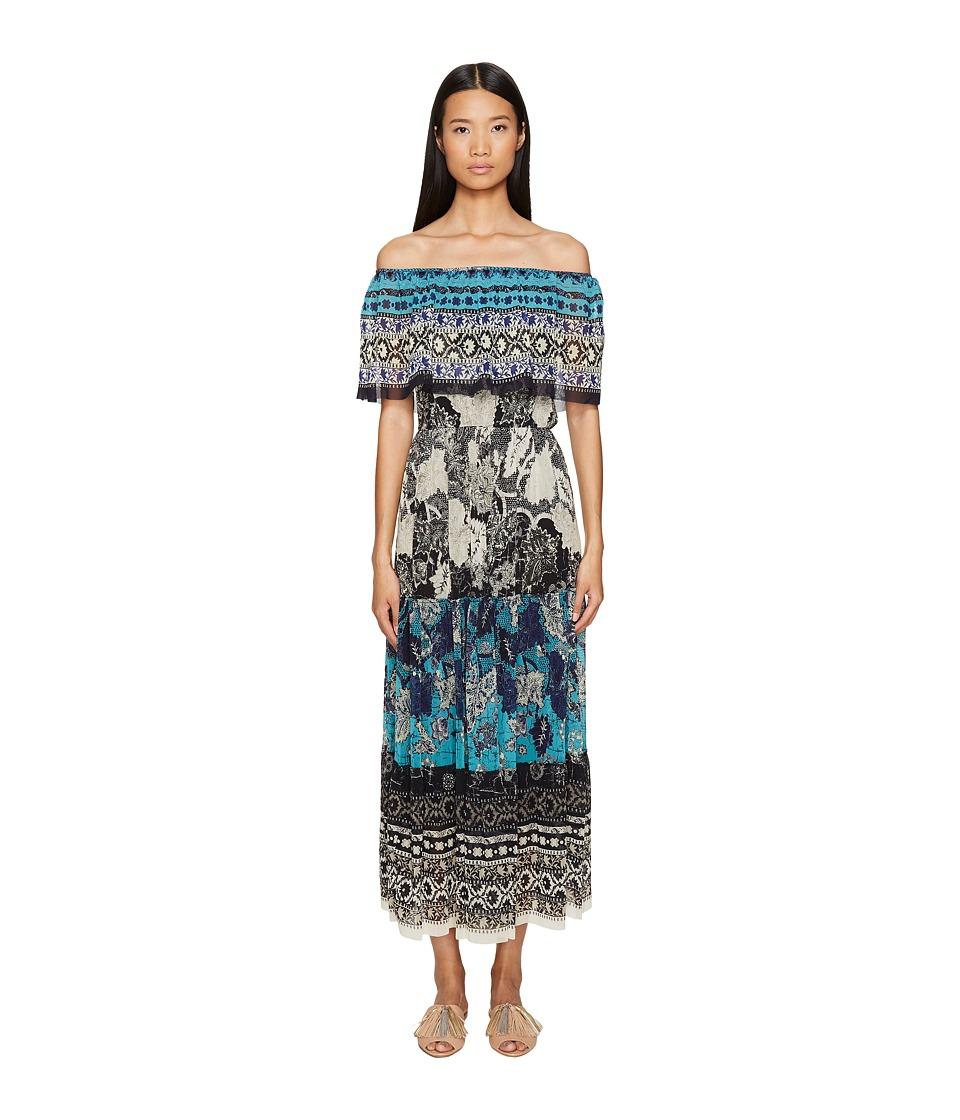 FUZZI - Off the Shoulder Partchwork Dress (Maldive) Women...