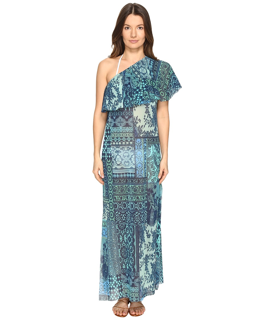 FUZZI - Lace Mosaic Print One Shoulder Cover-Up