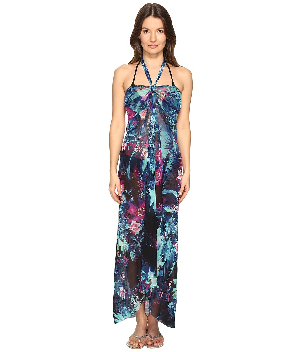 FUZZI - Tropical Flower Print Halter Single Layer Cover-Up