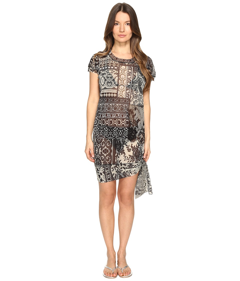 FUZZI - Lace Mosaic Printed Oversized Top with Knot Detail