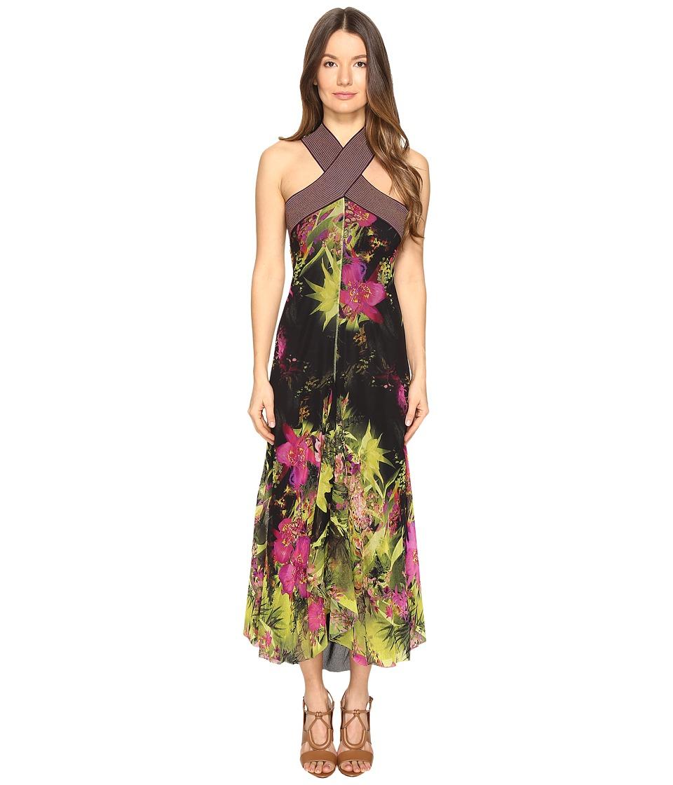 FUZZI - Tropical Flower Print Crisscross Top Long Dress