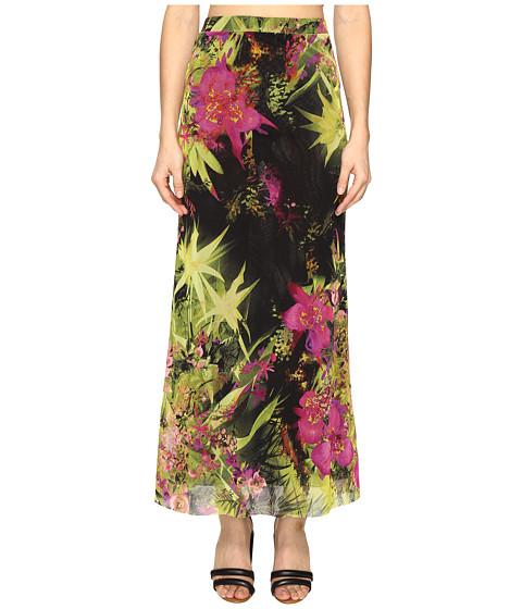 FUZZI Tropical Flower Print Long Fitted Skirt