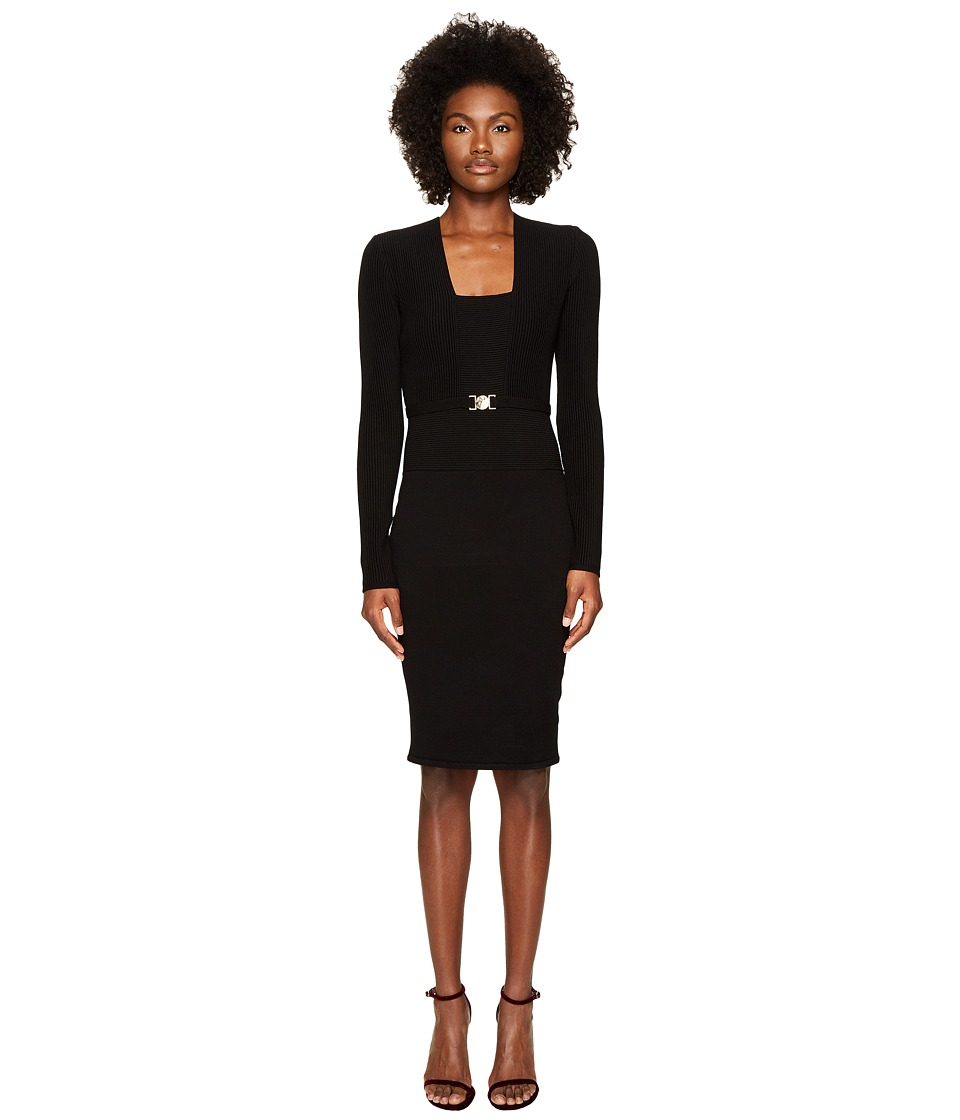 Versace Collection - Long Sleeve Knit Belted Dress (Nero) Womens Dress