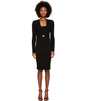 Versace Collection - Long Sleeve Knit Belted Dress