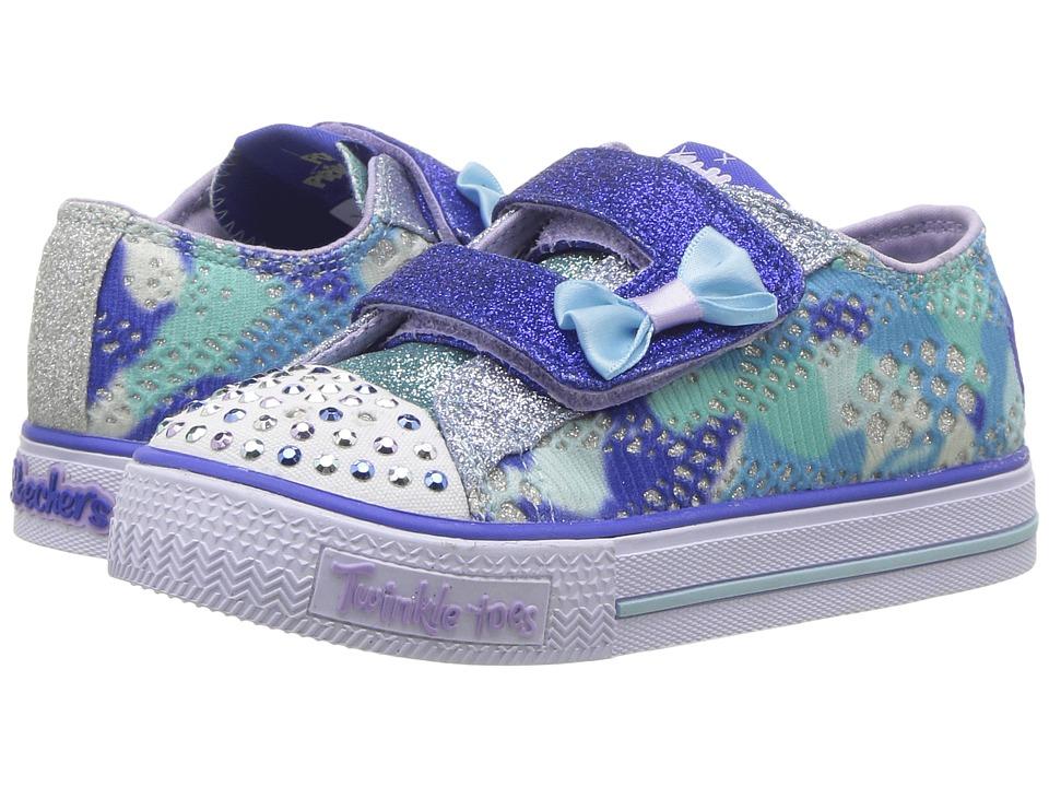 SKECHERS KIDS Twinkle Toes Shuffles 10834N Lights (Toddler/Little Kid) (Blue/Multi) Girl's Shoes