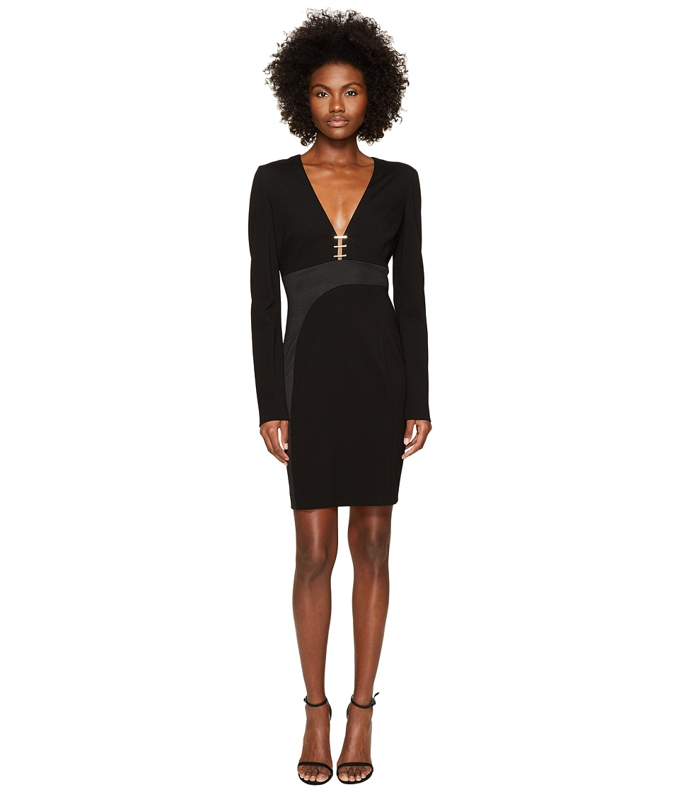 Versace Collection Long Sleeve V-Neck Dress (Nero) Women