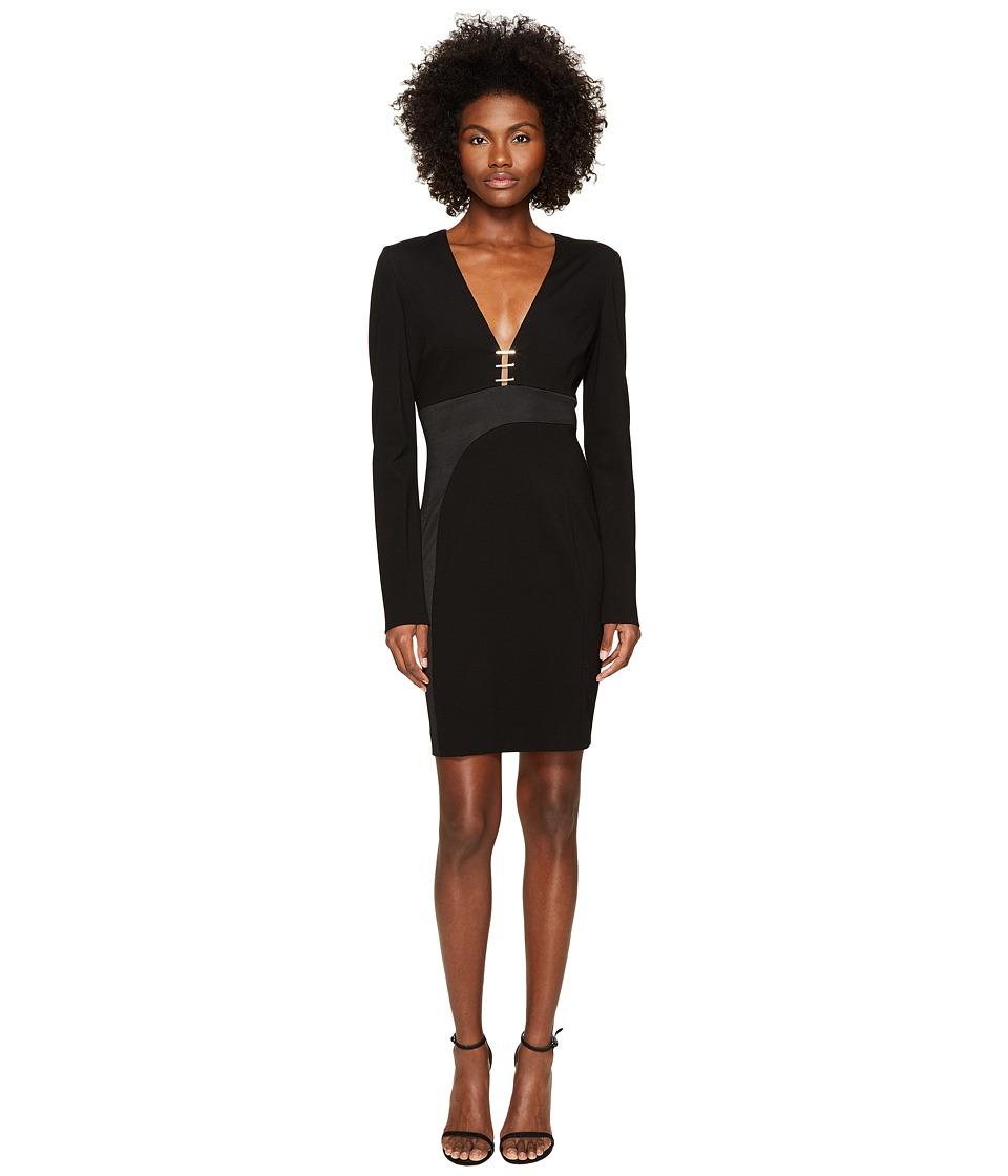 Versace Collection Long Sleeve V-Neck Dress (Nero) Women