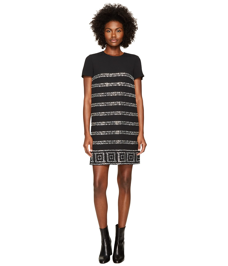 Versace Collection Short Sleeve Shimmer Striped Dress (Nero Cristallo Silver) Women