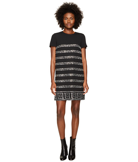 Versace Collection Short Sleeve Shimmer Striped Dress
