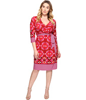 Adrianna Papell - Plus Size 3/4 Sleeve V-Neck Wrap Dress