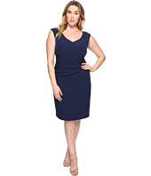 Adrianna Papell - Plus Size Stretch Crepe Sheath Dress with Side Tucks