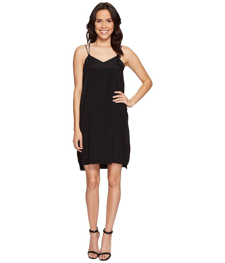 Halston Heritage Sleeveless Double Strap Cami Slip Dress (Black) Women