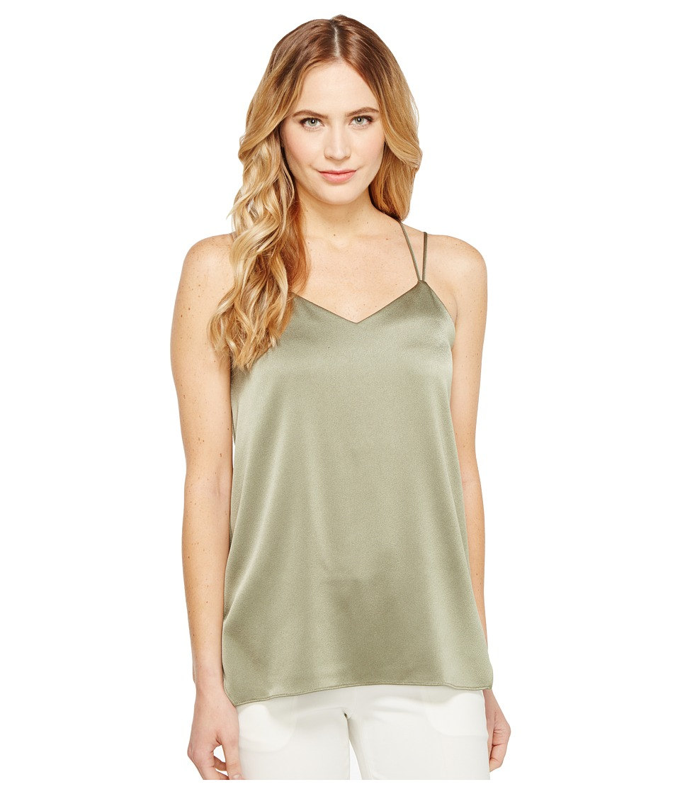 Halston Heritage Sleeveless Double Strap Satin Cami (Moss) Women