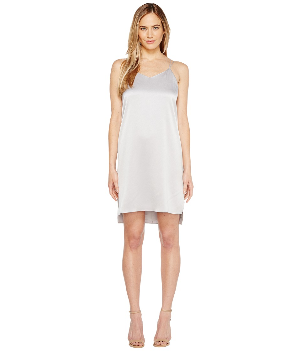 Halston Heritage Sleeveless Double Strap Satin Slip Dress (Fog) Women