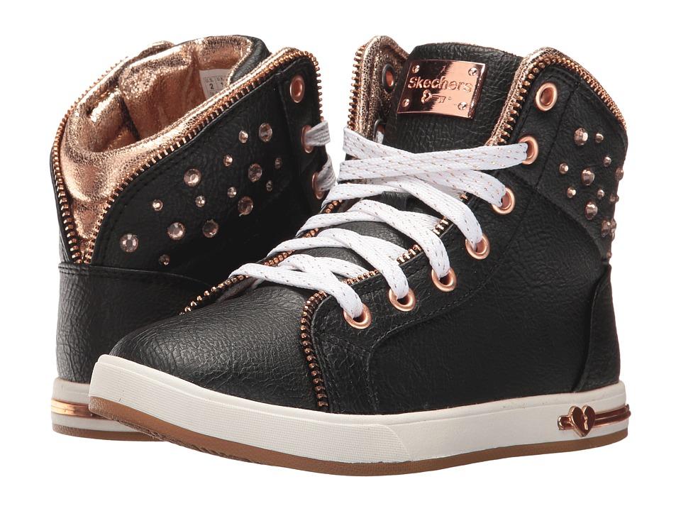 SKECHERS KIDS Shoutouts 84341L (Little Kid/Big Kid) (Black/Rose Gold) Girl's Shoes
